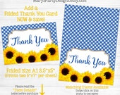 Sunflower Thank You Card - Bridal Shower Invitation - Blue Gingham I Do BBQ Picnic Coed Wedding Shower Recipe Card Rehearsal Dinner PDF JPEG