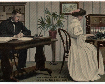 Postcard of Commercial Visible Typewriter in a Funny & Sexist Office Setting