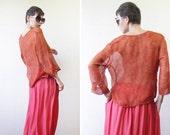 Orange pure silk semi sheer button down sloushy blouse shirt