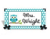 personalized teacher desk name plate class owl and dots in turquoise accents - SS37