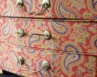 Vintage exceptional French red paisley fabric covered box three drawers for jewellery/sewing