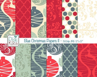 SALE Blue Christmas Digital Papers II - Christmas Scrapbook Papers - card design, invitations, paper crafts - Instant Download