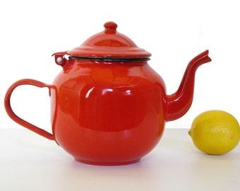 Red enamel kettle, mid century teapot, retro kitchen or campervan, vintage 1960s enamelware