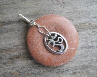 Om Gemstone Pendant, Red Jasper Donut Jewelry, Wire Wrapped Gemstone, Buddhist Hindu Aum, Chunky Boho Jewelry CHOOSE Necklace, READY to Ship