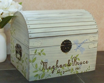 Rustic Wedding Card Box, Shabby Chic Wedding Card Box, Wedding Decoration, Memory Box, Keepsake Chest, Personalized, Weddings Dragonfly, LT