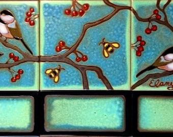 Ceramic tile,Chickadee backsplash, installation, kitchen and bathroom murals, custom, hand painted