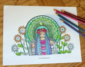 Gypsy Coloring Page, Printable, Instant Download, Coloring Page, Coloring Sheet