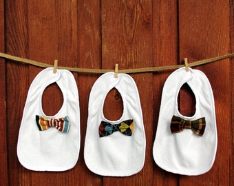 Baby Gift Set, Baby Boy Bow Tie Bib. Baby Shower Gift Set. 1st Birthday Gift, Coming Home Outfit, Teething bib, Thanksgiving, New Baby Gift,