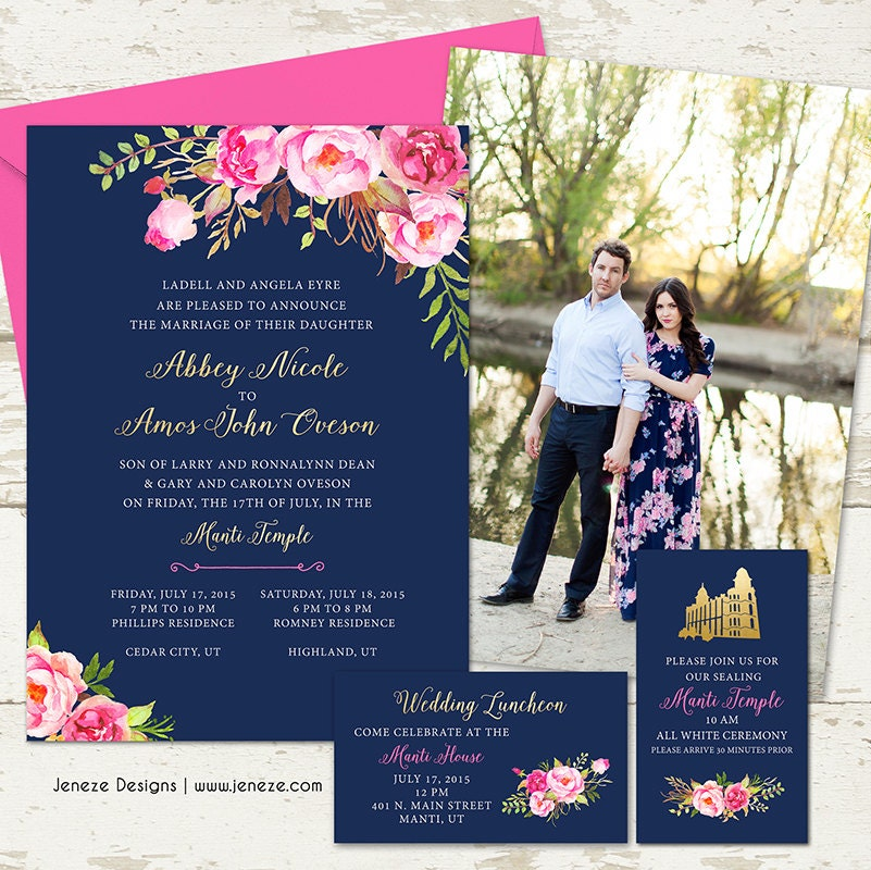 Pink And Navy Blue Wedding Invitations: Pink Floral Gold And Navy Wedding Invitation Set By Jeneze