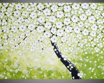 Tree Painting in Olive Abstract Acrylic Art on large Canvas Gift Textured Wall Art Cherry Tree White Blossom 48 x 24 MADE TO ORDER by ilonka