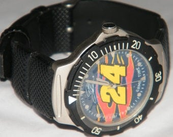Vintage No. 24 Jeff Gordon Racing Driver NASCAR Game Time Stainless Steel Watch