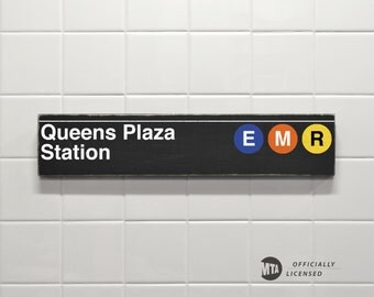 Queens Plaza Station - New York City Subway Sign - Wood Sign