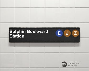 Sutphin Boulevard Station - New York City Subway Sign - Wood Sign