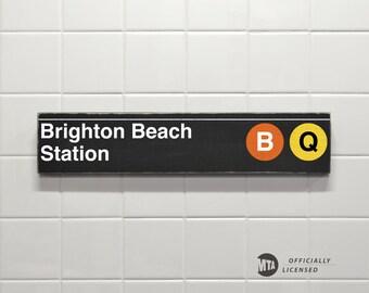 Brighton Beach Station - New York City Subway Sign - Wood Sign