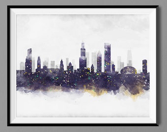 Chicago Skyline, Chicago Illinois Cityscape Wall Art Print Poster - Gift Idea