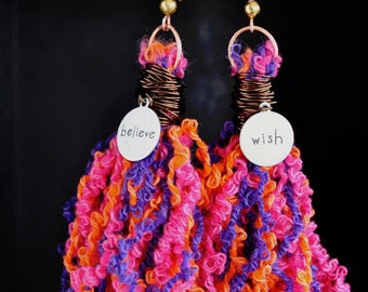 Wish Believe, Fantasy Earrings, Tassel Earrings, Pink and Purple