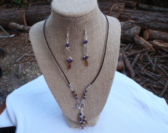 Leather & silvertone necklace with matching earrings