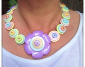 Pastel, polka dot, flower button necklace