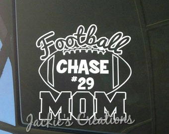 Football Mom Decal with Name and Number/ Custom Sports Decal