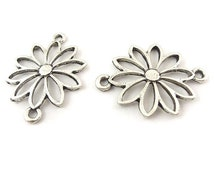 10 Pcs Antiqued silver daisy flower connector Jewelry supplies Ship from USA  You do not have to wait 4 or 5 weeks