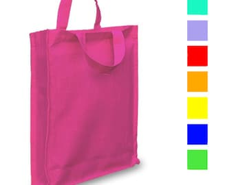 Cotton colouring book carry bag, rainbow colours