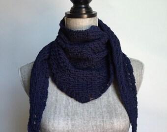 Crochet Cotton Handkerchief Scarf in Navy Blue
