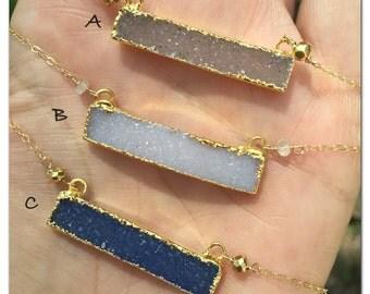 Druzy bar, 24K druzy bar necklace: denim blue druzy necklace, gray blue druzy,white druzy bar, champagne druzy bar, top selling jewelry