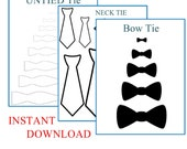 Neck Tie Template, Bow Tie Template, Untied Bow Tie Template Instant Download, Baby Decorations, Baby Shower Decorations, Onesie, Onesie Tie