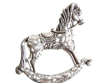 Jezlaine Sterling Rocking Horse Brooch Designer Vintage Die Cut Equestrian Jewelry Modernist Openwork Horse Pin Collectibles Accessories