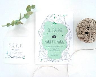 Woodland Tree Birthday Party Invitation Watercolor