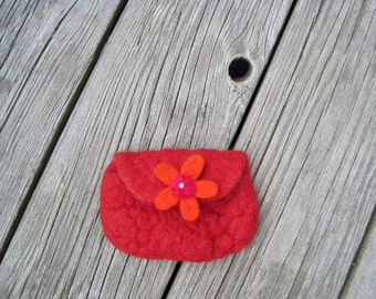 Coin Purse, Felted Purse, Red Purse, Felt Wallet, Red Wallet, Envelope Pouch, Gift Red, Gift For Girlfriend, Gift Idea , Red Flower