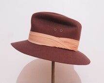 Vintage 70s hat | 1970s brown wool fedora hat