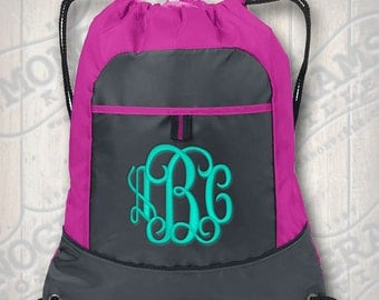 NEW! Monogrammed Raspberry Pink Backpack Drawstring Cinch Bag  font shown INTERLOCKING in Pool