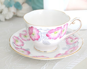 Mid Century, English Fine Bone China Tea Cup and Saucer by Royal Standard, Dawn Pattern, Tea Party