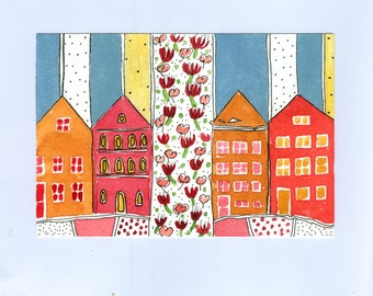 "Wall Art ,"" Houses And Summer Flowers  "" , Small Houses , Watercolor Painting"
