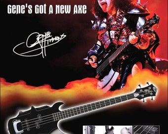 KISS Gene Simmons Cort Axe Bass Ad Stand-Up Display - KISS Band KISS Collectibles Memorabilia Army Kit Posters T-Shirts Retro Gift kiss76