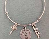 Kappa Kappa Gamma Bracelet Inspired by Greek Sorority Charm Set Licensed, Sorority Sister, Lavalier, KKG, Lil sister crafting, lavalier