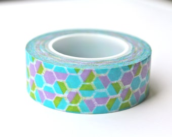 Honeycomb Washi Tape - Blue Washi Tape - Geometric Washi Tape - Honeycomb Masking Tape - 10 meters