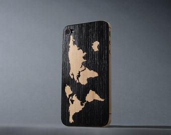 Ebony World Map Inlay iPhone 4/4s Real Wood Skin - Made in the USA - FREE Shipping