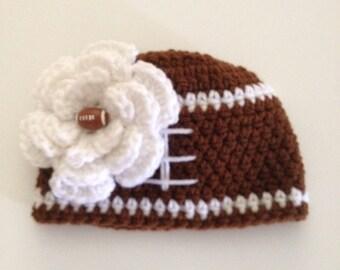 Crochet Baby Girl Hat Infant Girl Hat Baby Football Hat Newborn Photo Prop Baby Girl Beanie Flower Beanie Made to Order