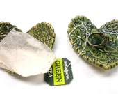 Pottery Heart Teabag Rest, Ceramic Teaspoon Rest, Teabag Holder, Ceramic Ring Dish, Gift for Her, Heart with Lace in Green