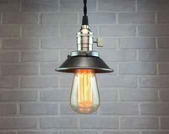 Industrial Pendant Lamp - Edison Bulb Pendant - Metal Shade - Hanging Lamp - Steampunk