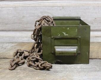 Vintage Industrial Green Mini Bin