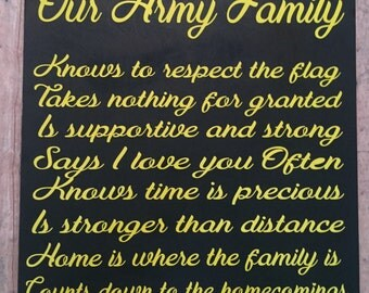 Our Army family, wood sign, military  family ,home decor, military life, gifts for military, military decor