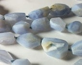 Blue Lace Agate Faceted Nugget Beads 16mm - 26mm
