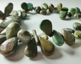 Natural Turquoise Green Brown Teardrop Briolette Graduating Strand Beads 11mm - 25mm