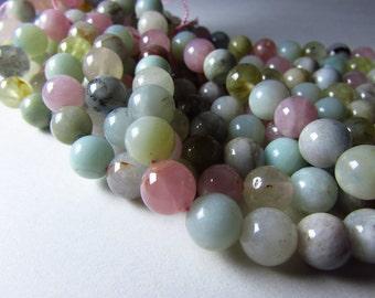 8mm Multicolor Blue Aquamarine , Pink Morganite , Green Beryl Smooth Round Beads Strand 8mm