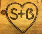 Mid Size Branding Iron, Custom Wedding Heart and Initials Brand
