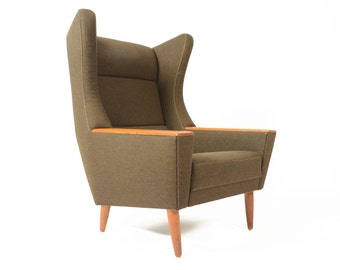 Danish Mid Century Modern Wingback Lounge Chair in Olive