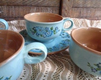 Vintage Cups and Saucers | Blue Dishes | Dishes with Flowers